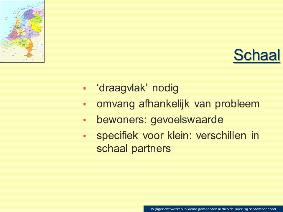 Schaal  'draagvlak' nodig  omvang afhankelijk van probleem  bewoners: gevoelswaarde  specifiek voor klein: verschillen in schaal partners Wijkgeri