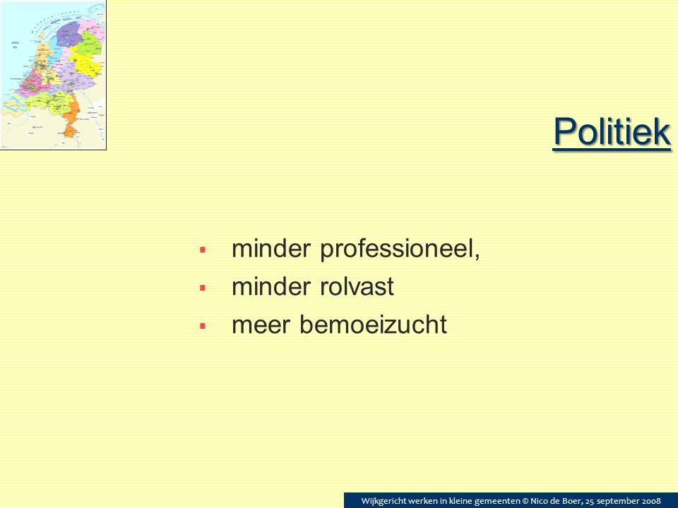 Politiek  minder professioneel,  minder rolvast  meer bemoeizucht Wijkgericht werken in kleine gemeenten © Nico de Boer, 25 september 2008