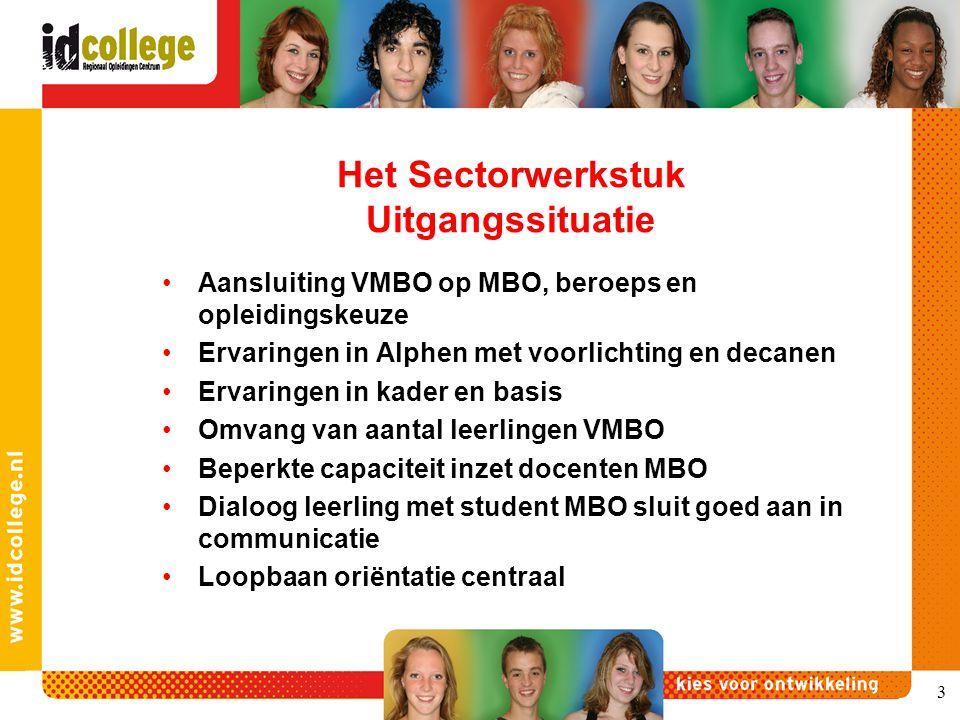 3 Het Sectorwerkstuk Uitgangssituatie Aansluiting VMBO op MBO, beroeps en opleidingskeuze Ervaringen in Alphen met voorlichting en decanen Ervaringen