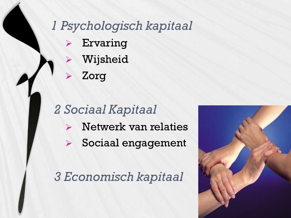 1 Psychologisch kapitaal  Ervaring  Wijsheid  Zorg 2 Sociaal Kapitaal  Netwerk van relaties  Sociaal engagement 3 Economisch kapitaal