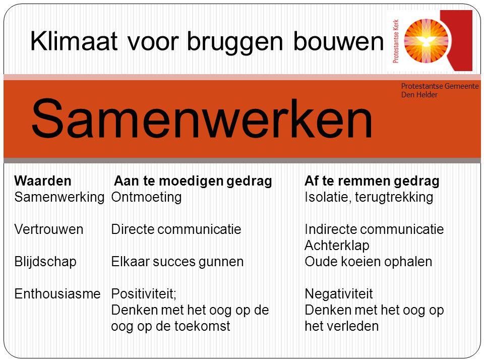 Protestantse Gemeente Den Helder Samenwerken Erkenning van de ander in zijn anders zijn.