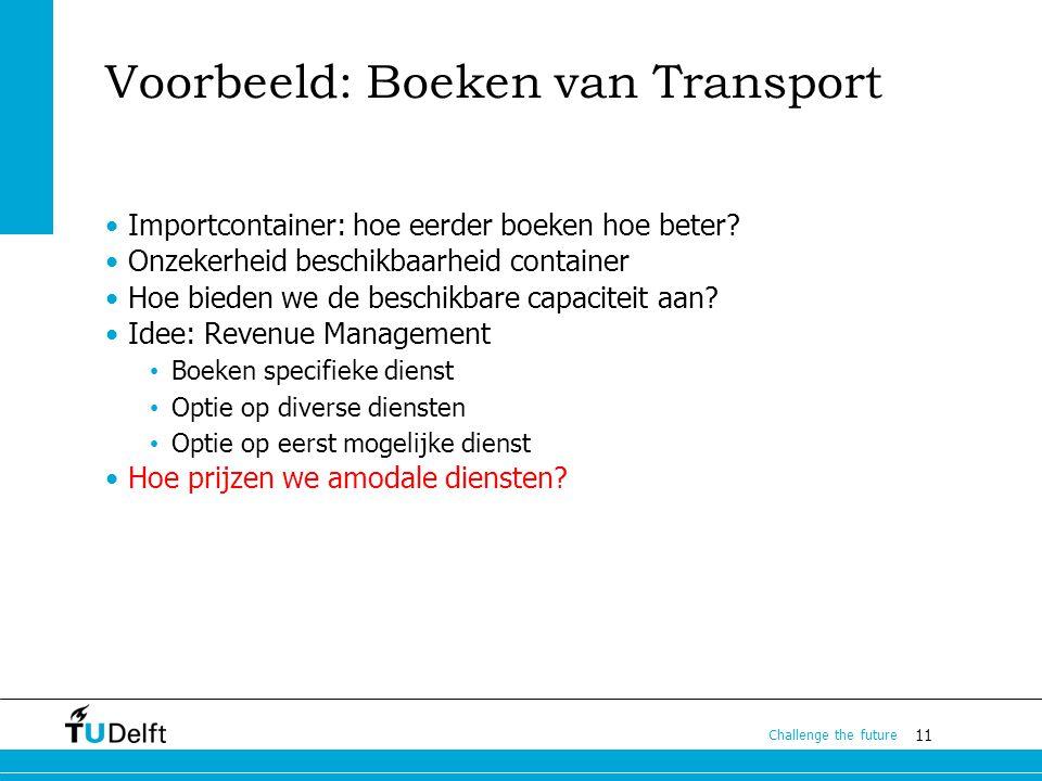 11 Challenge the future Voorbeeld: Boeken van Transport Importcontainer: hoe eerder boeken hoe beter? Onzekerheid beschikbaarheid container Hoe bieden