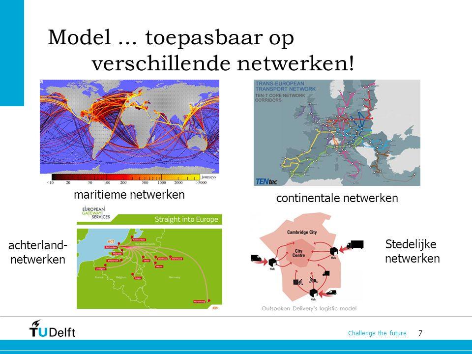 7 Challenge the future Model... toepasbaar op verschillende netwerken! maritieme netwerken continentale netwerken achterland- netwerken Stedelijke net