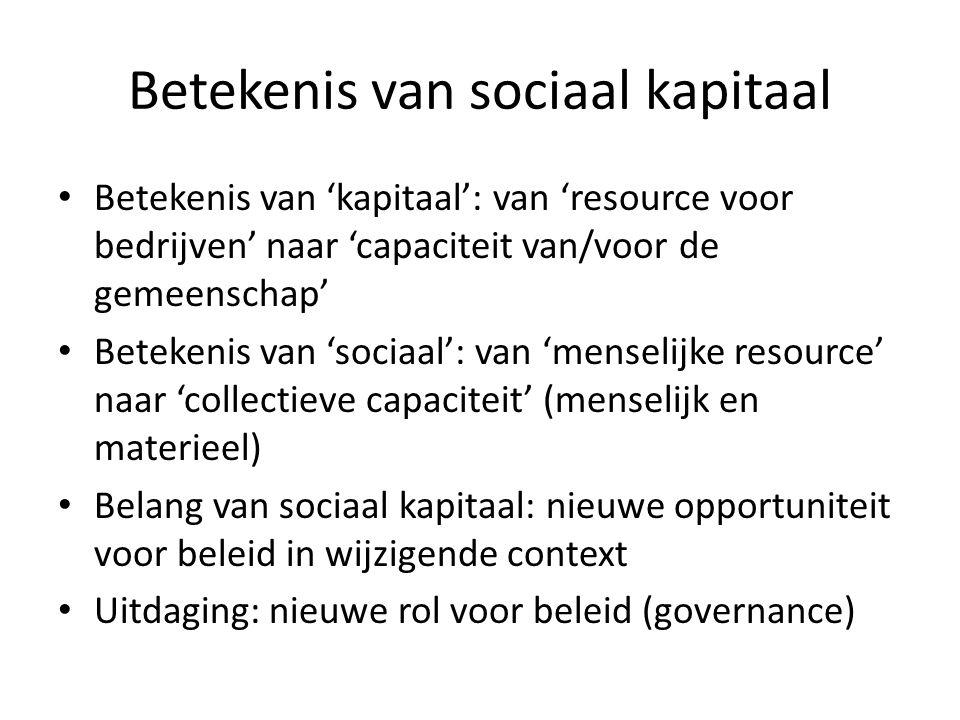 Betekenis van sociaal kapitaal Betekenis van 'kapitaal': van 'resource voor bedrijven' naar 'capaciteit van/voor de gemeenschap' Betekenis van 'sociaa