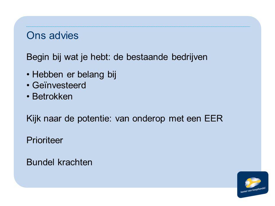 Ons advies Begin bij wat je hebt: de bestaande bedrijven Hebben er belang bij Geïnvesteerd Betrokken Kijk naar de potentie: van onderop met een EER Pr