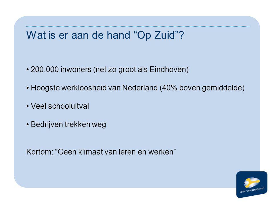 """Wat is er aan de hand """"Op Zuid""""? 200.000 inwoners (net zo groot als Eindhoven) Hoogste werkloosheid van Nederland (40% boven gemiddelde) Veel schoolui"""