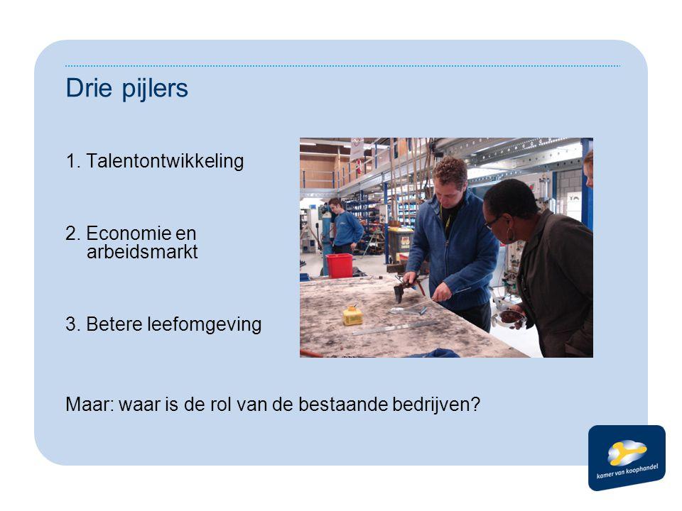 Drie pijlers 1. Talentontwikkeling 2. Economie en arbeidsmarkt 3. Betere leefomgeving Maar: waar is de rol van de bestaande bedrijven?