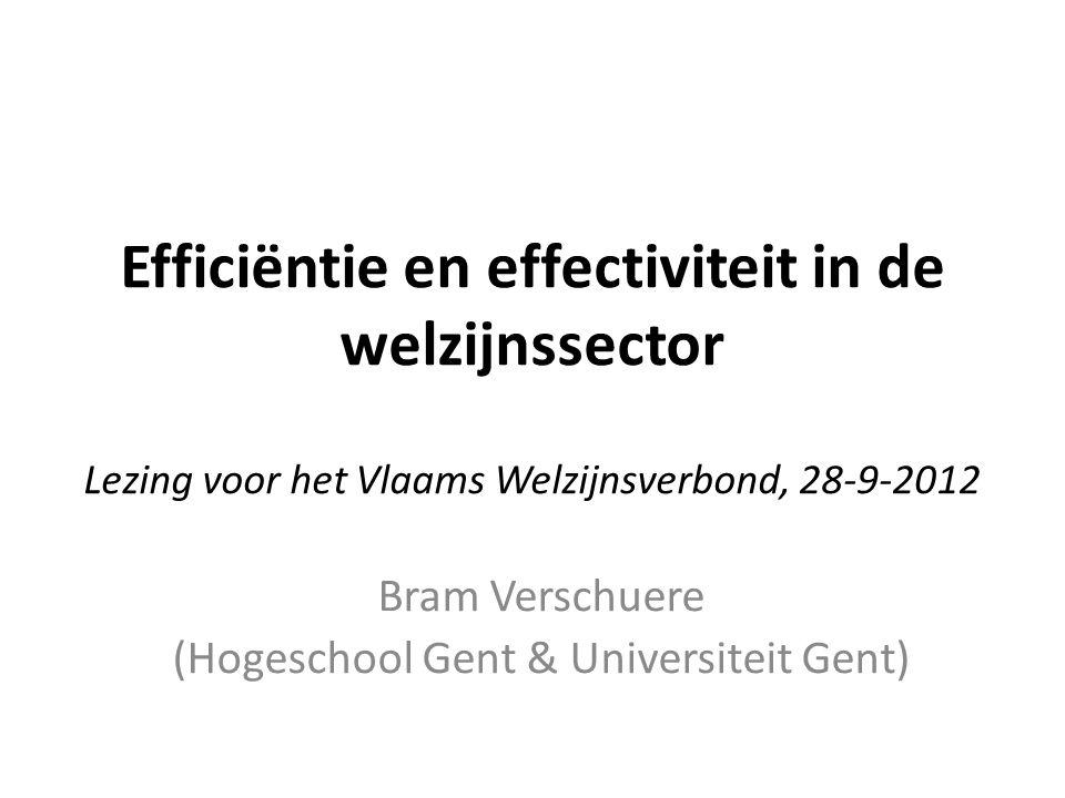Efficiëntie en effectiviteit in de welzijnssector Lezing voor het Vlaams Welzijnsverbond, 28-9-2012 Bram Verschuere (Hogeschool Gent & Universiteit Gent)