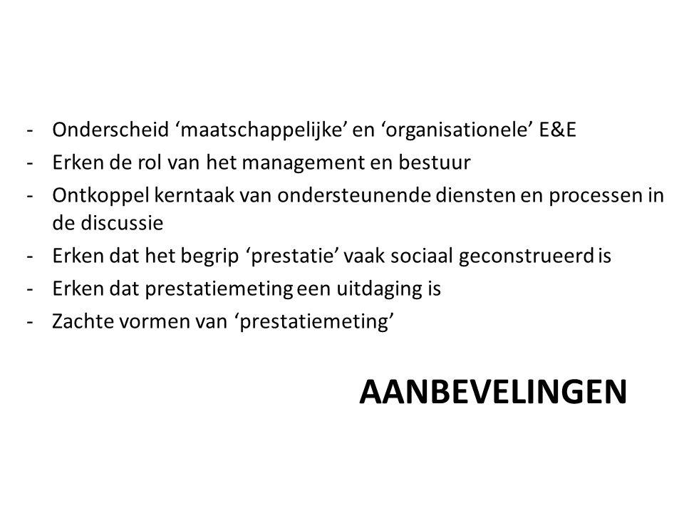 AANBEVELINGEN -Onderscheid 'maatschappelijke' en 'organisationele' E&E -Erken de rol van het management en bestuur -Ontkoppel kerntaak van ondersteunende diensten en processen in de discussie -Erken dat het begrip 'prestatie' vaak sociaal geconstrueerd is -Erken dat prestatiemeting een uitdaging is -Zachte vormen van 'prestatiemeting'