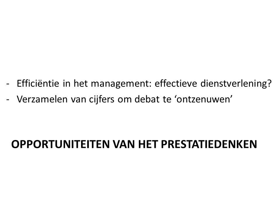 OPPORTUNITEITEN VAN HET PRESTATIEDENKEN -Efficiëntie in het management: effectieve dienstverlening.