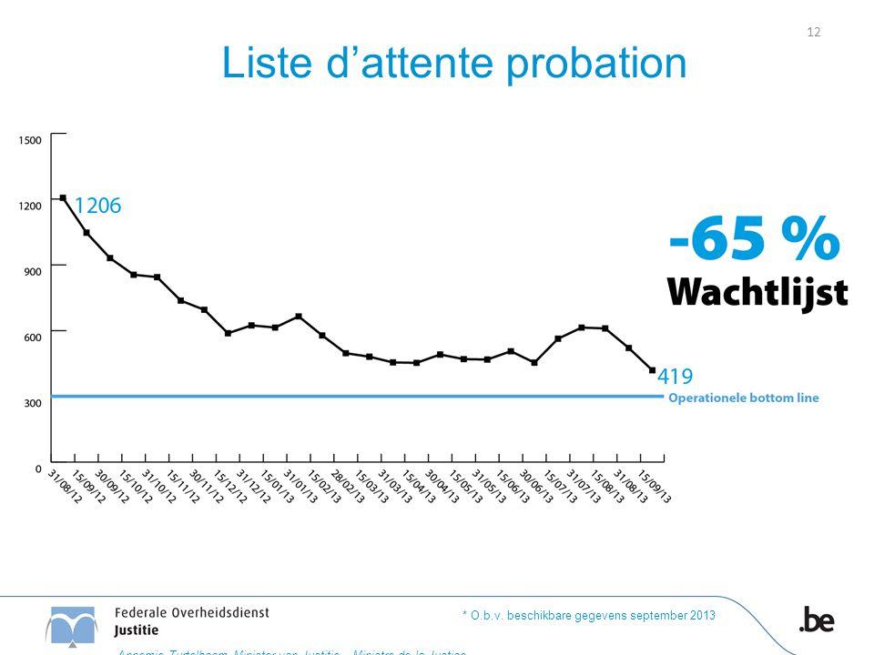 Liste d'attente probation * O.b.v. beschikbare gegevens september 2013 12 Annemie Turtelboom Minister van Justitie – Ministre de la Justice