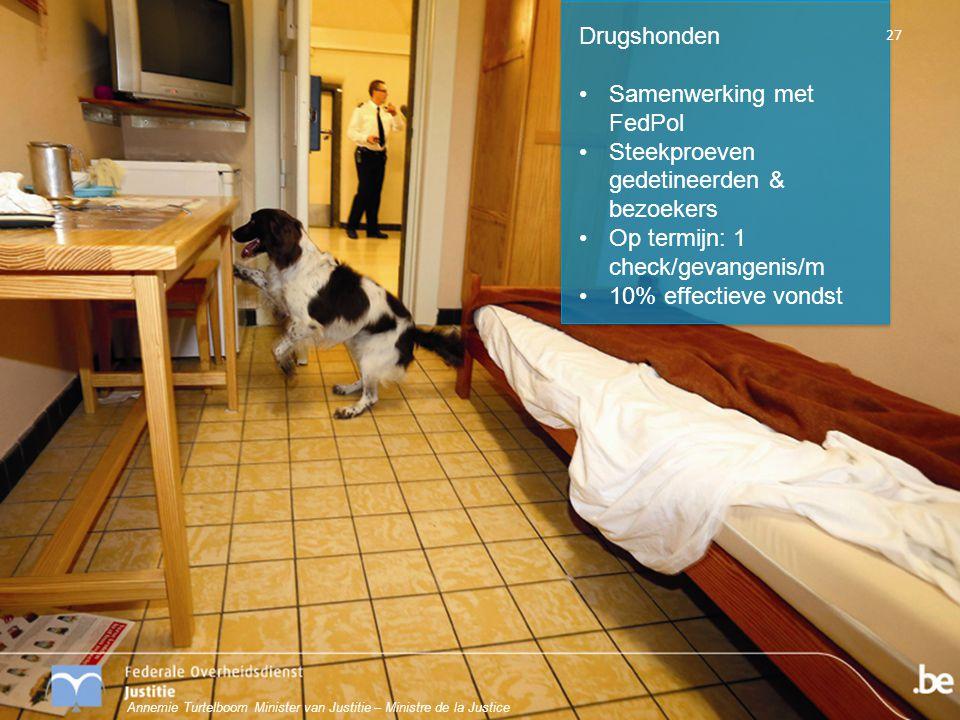 Drugshonden Samenwerking met FedPol Steekproeven gedetineerden & bezoekers Op termijn: 1 check/gevangenis/m 10% effectieve vondst 27 Annemie Turtelboo