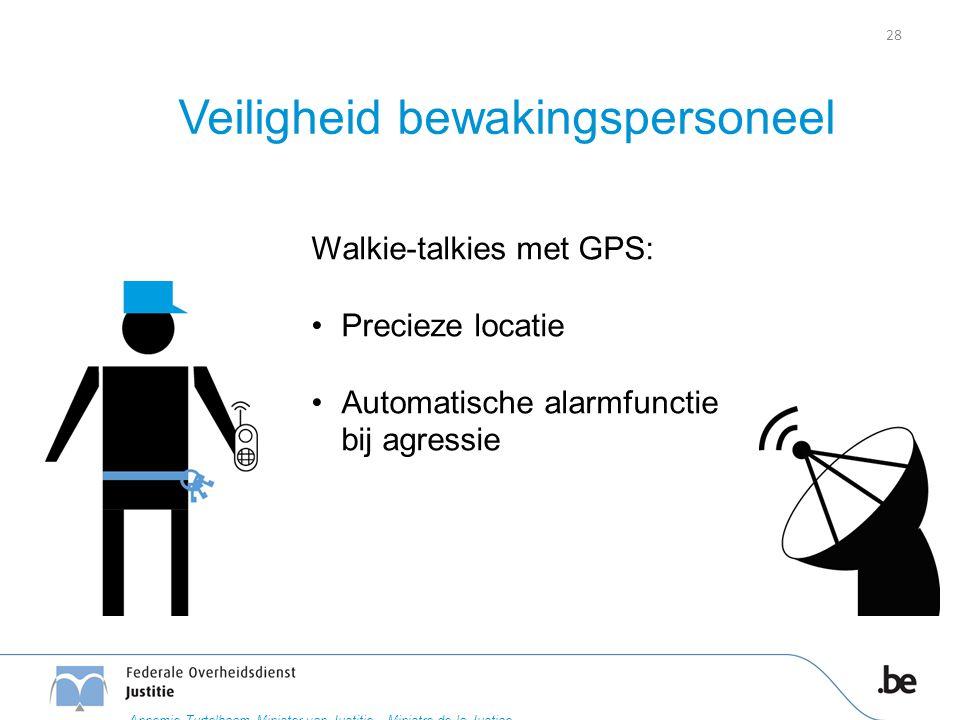 Veiligheid bewakingspersoneel Walkie-talkies met GPS: Precieze locatie Automatische alarmfunctie bij agressie 28 Annemie Turtelboom Minister van Justitie – Ministre de la Justice
