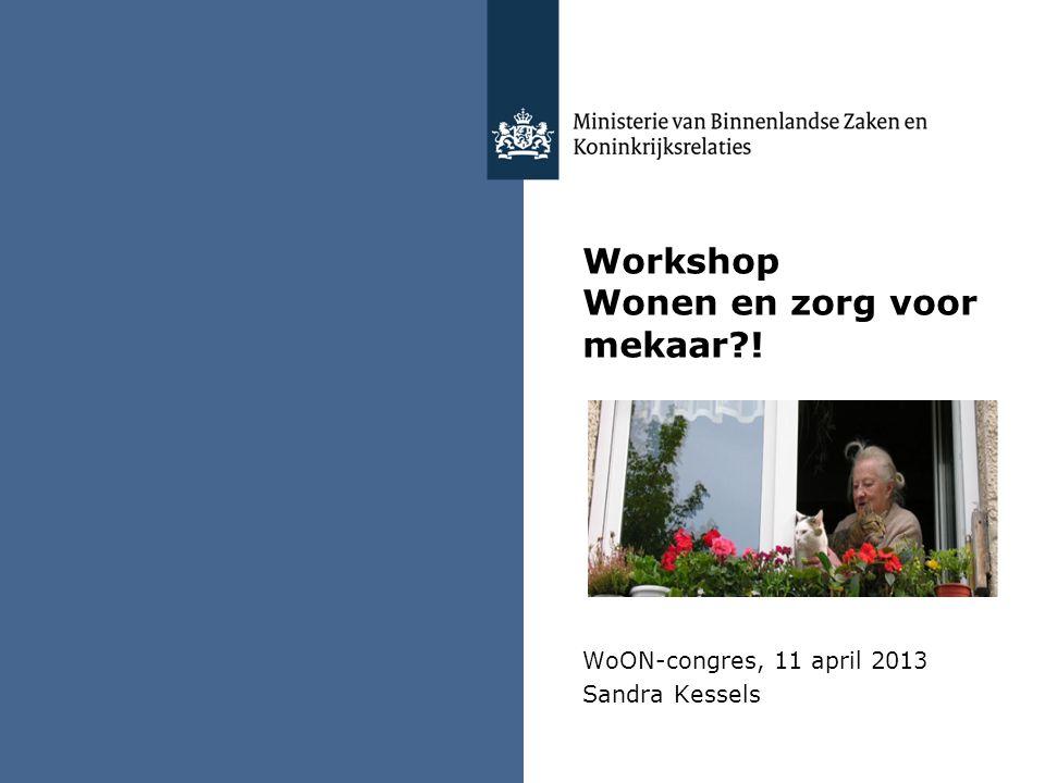 Workshop Wonen en zorg voor mekaar?! WoON-congres, 11 april 2013 Sandra Kessels