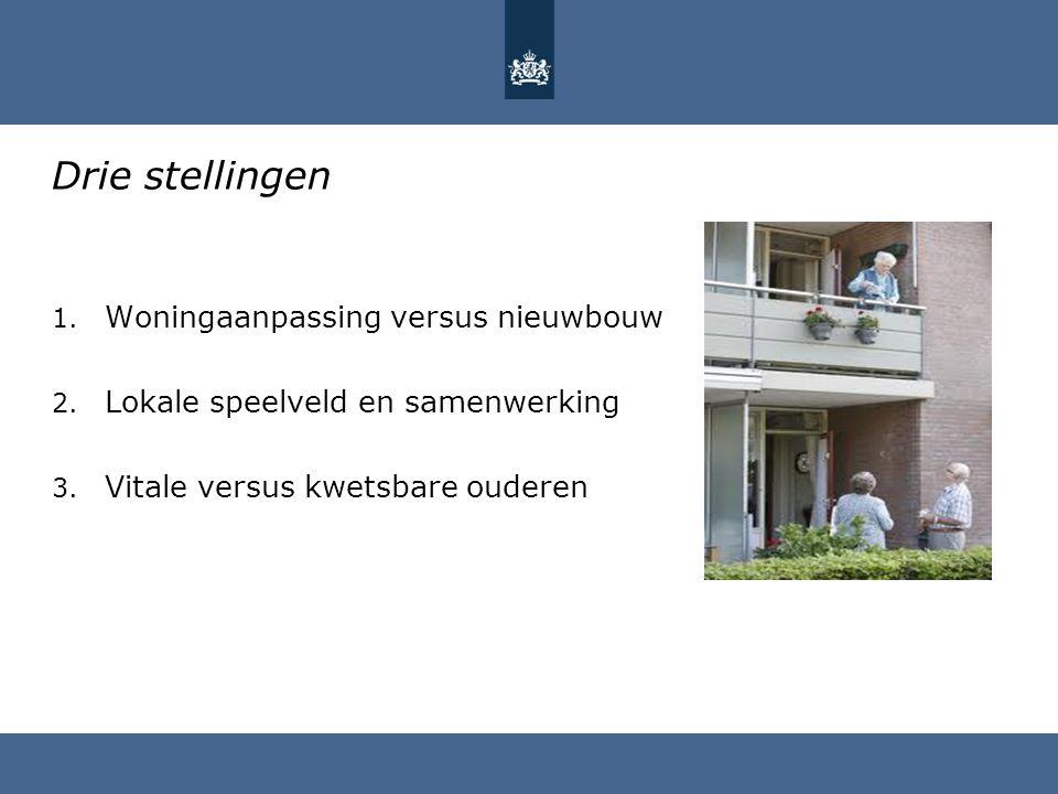 Drie stellingen 1. Woningaanpassing versus nieuwbouw 2. Lokale speelveld en samenwerking 3. Vitale versus kwetsbare ouderen
