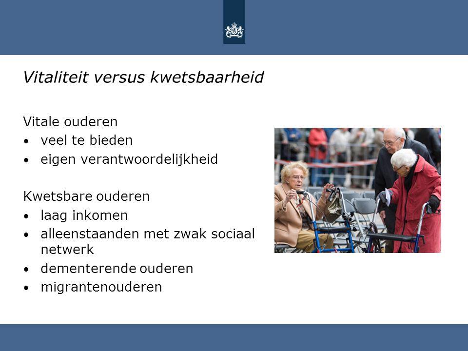Vitaliteit versus kwetsbaarheid Vitale ouderen veel te bieden eigen verantwoordelijkheid Kwetsbare ouderen laag inkomen alleenstaanden met zwak sociaa