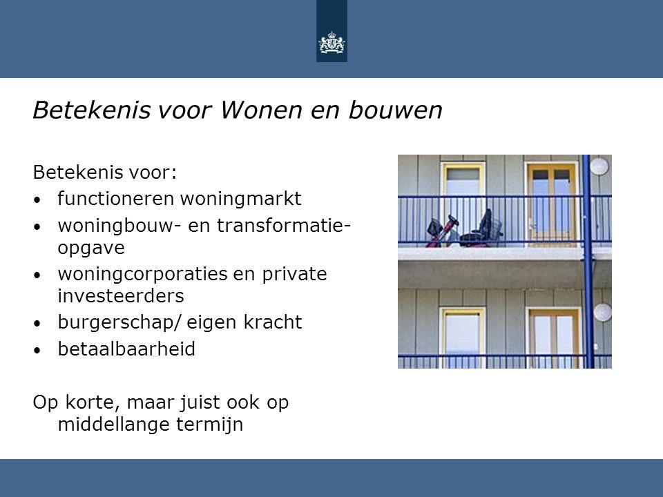 Betekenis voor Wonen en bouwen Betekenis voor: functioneren woningmarkt woningbouw- en transformatie- opgave woningcorporaties en private investeerder