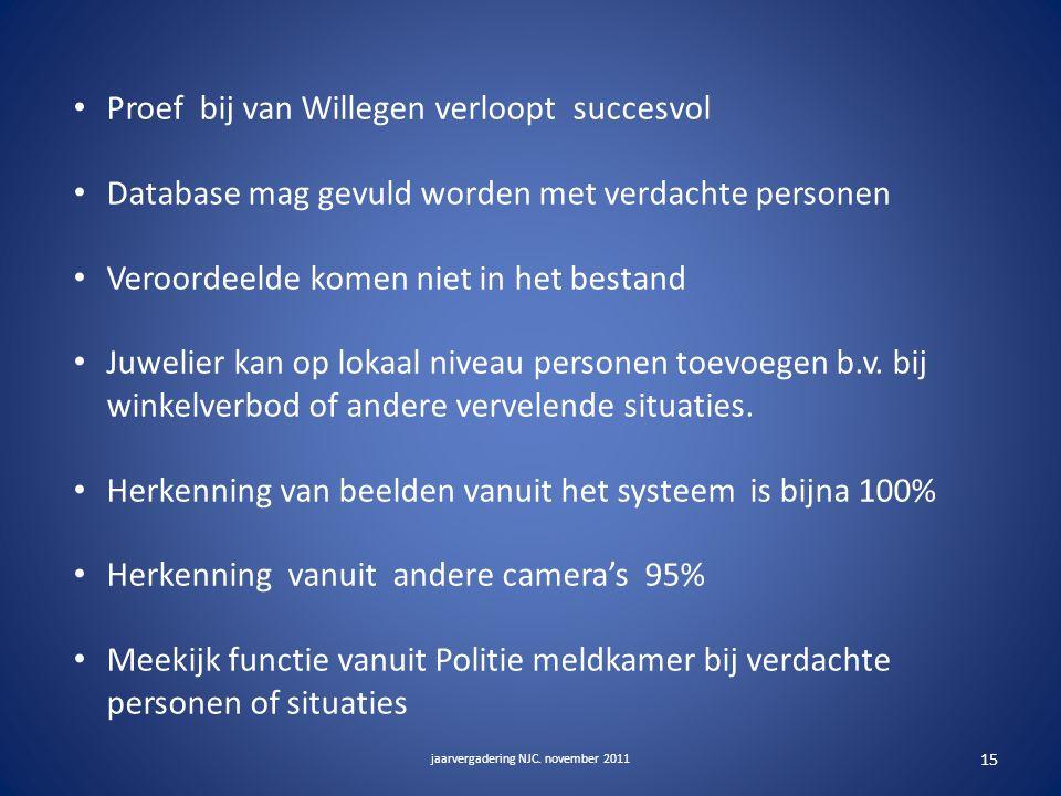 Proef bij van Willegen verloopt succesvol Database mag gevuld worden met verdachte personen Veroordeelde komen niet in het bestand Juwelier kan op lokaal niveau personen toevoegen b.v.