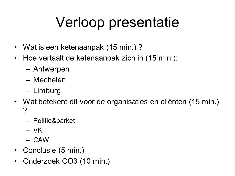 Verloop presentatie Wat is een ketenaanpak (15 min.) ? Hoe vertaalt de ketenaanpak zich in (15 min.): –Antwerpen –Mechelen –Limburg Wat betekent dit v