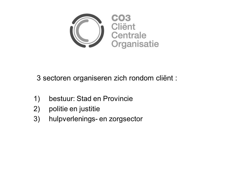 3 sectoren organiseren zich rondom cliënt : 1)bestuur: Stad en Provincie 2)politie en justitie 3)hulpverlenings- en zorgsector