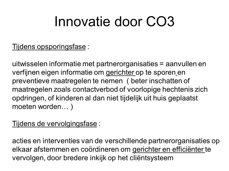Innovatie door CO3 Tijdens opsporingsfase : uitwisselen informatie met partnerorganisaties = aanvullen en verfijnen eigen informatie om gerichter op t