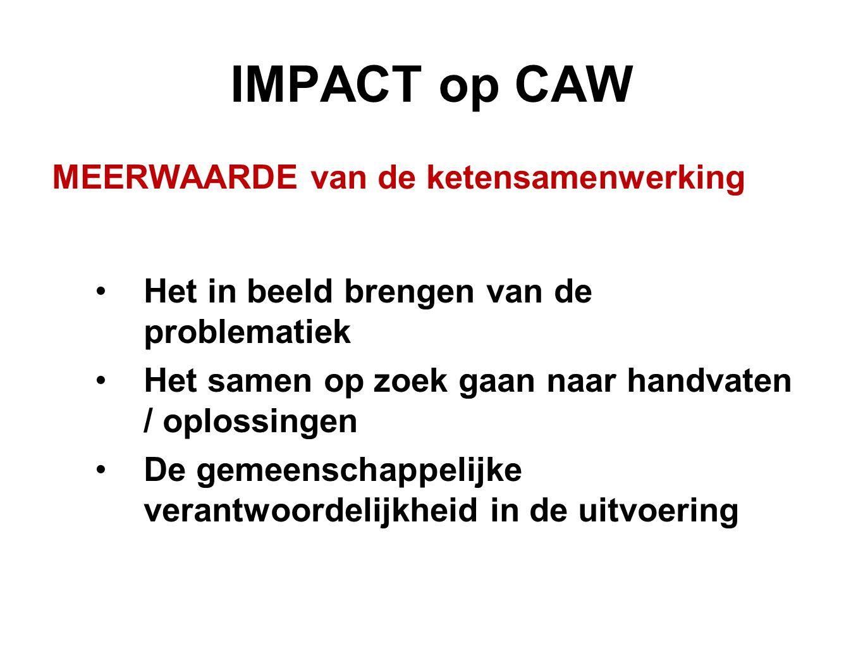 IMPACT op CAW MEERWAARDE van de ketensamenwerking Het in beeld brengen van de problematiek Het samen op zoek gaan naar handvaten / oplossingen De geme