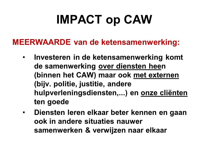 IMPACT op CAW MEERWAARDE van de ketensamenwerking: Investeren in de ketensamenwerking komt de samenwerking over diensten heen (binnen het CAW) maar oo