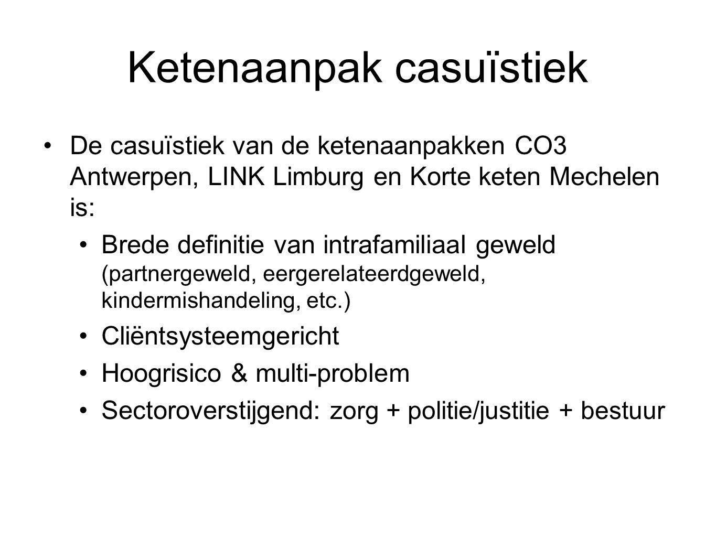 Ketenaanpak casuïstiek De casuïstiek van de ketenaanpakken CO3 Antwerpen, LINK Limburg en Korte keten Mechelen is: Brede definitie van intrafamiliaal