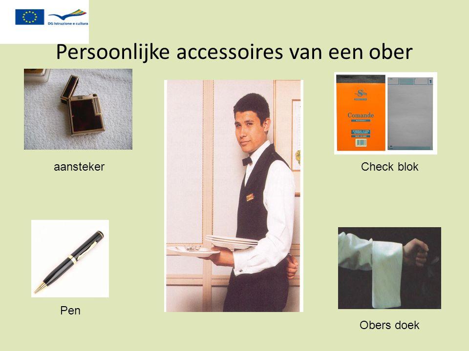 Persoonlijke accessoires van een ober aansteker Pen Check blok Obers doek