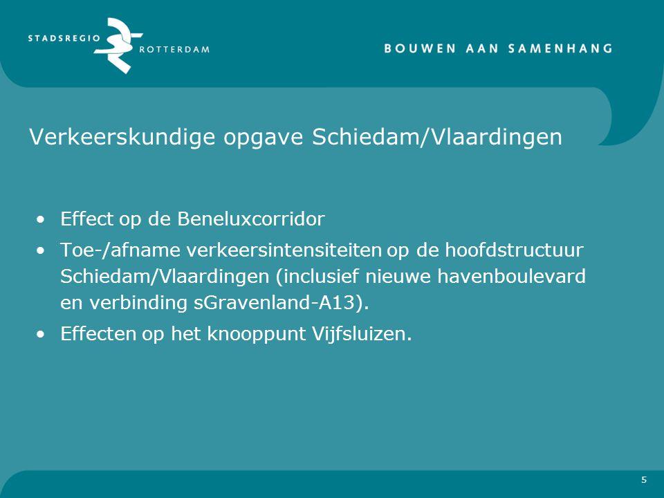 Verkeerskundige opgave Schiedam/Vlaardingen Effect op de Beneluxcorridor Toe-/afname verkeersintensiteiten op de hoofdstructuur Schiedam/Vlaardingen (