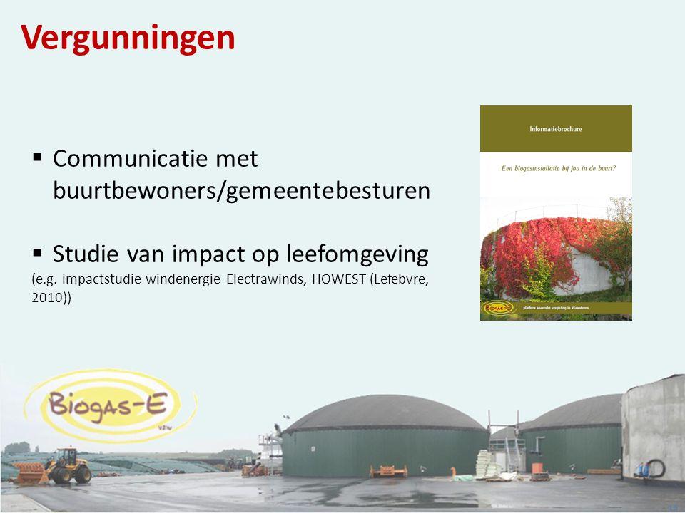 15 Vergunningen  Communicatie met buurtbewoners/gemeentebesturen  Studie van impact op leefomgeving (e.g. impactstudie windenergie Electrawinds, HOW