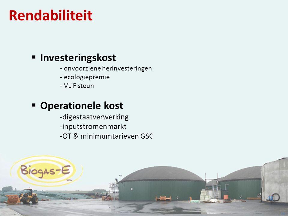 20 Rendabiliteit  Investeringskost - onvoorziene herinvesteringen - ecologiepremie - VLIF steun  Operationele kost -digestaatverwerking -inputstrome
