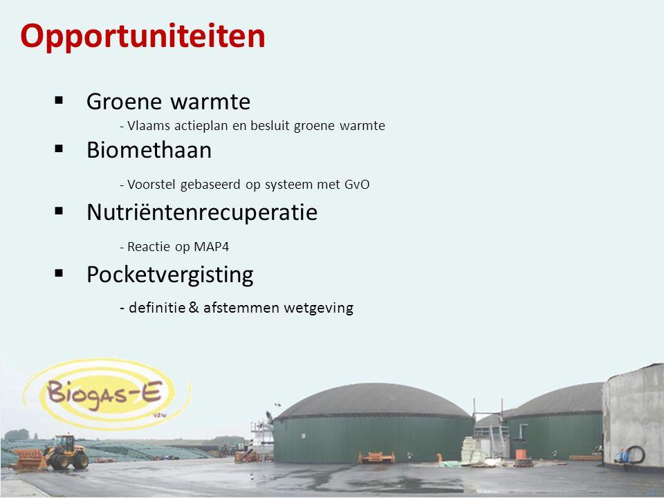 21 Opportuniteiten  Groene warmte - Vlaams actieplan en besluit groene warmte  Biomethaan - Voorstel gebaseerd op systeem met GvO  Nutriëntenrecupe