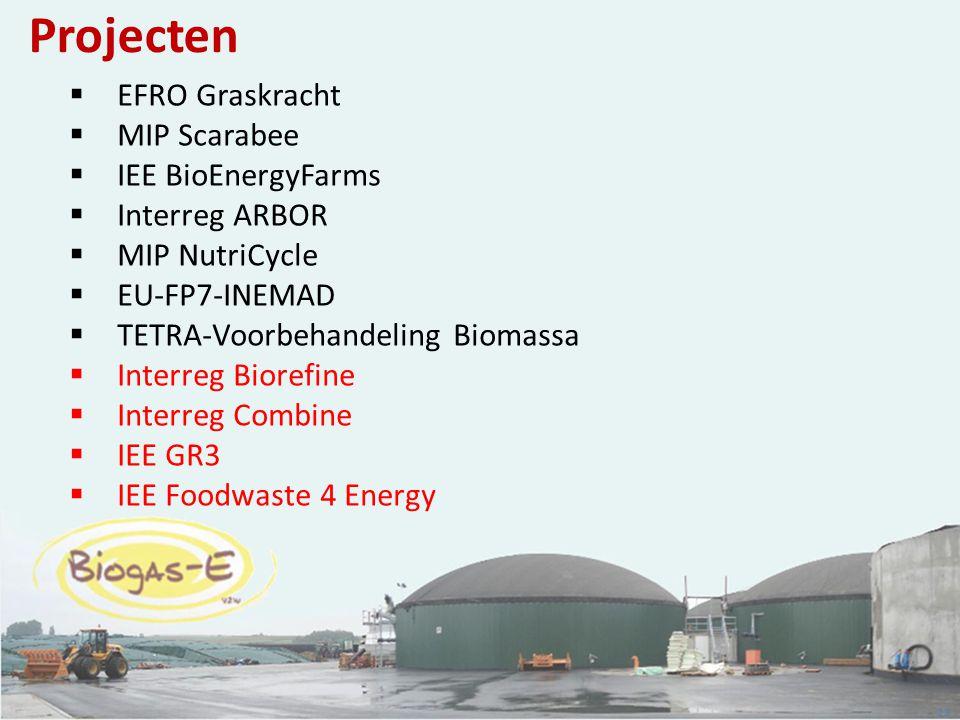 23 Projecten  EFRO Graskracht  MIP Scarabee  IEE BioEnergyFarms  Interreg ARBOR  MIP NutriCycle  EU-FP7-INEMAD  TETRA-Voorbehandeling Biomassa