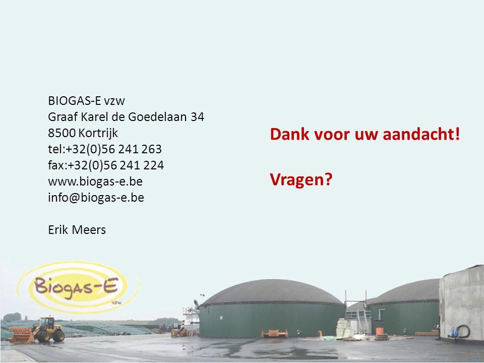 24 BIOGAS-E vzw Graaf Karel de Goedelaan 34 8500 Kortrijk tel:+32(0)56 241 263 fax:+32(0)56 241 224 www.biogas-e.be info@biogas-e.be Erik Meers Dank v