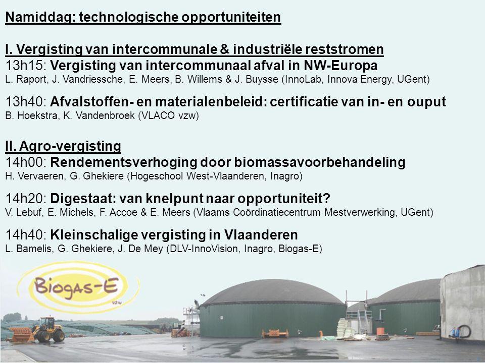 3 Namiddag: technologische opportuniteiten I. Vergisting van intercommunale & industriële reststromen 13h15: Vergisting van intercommunaal afval in NW