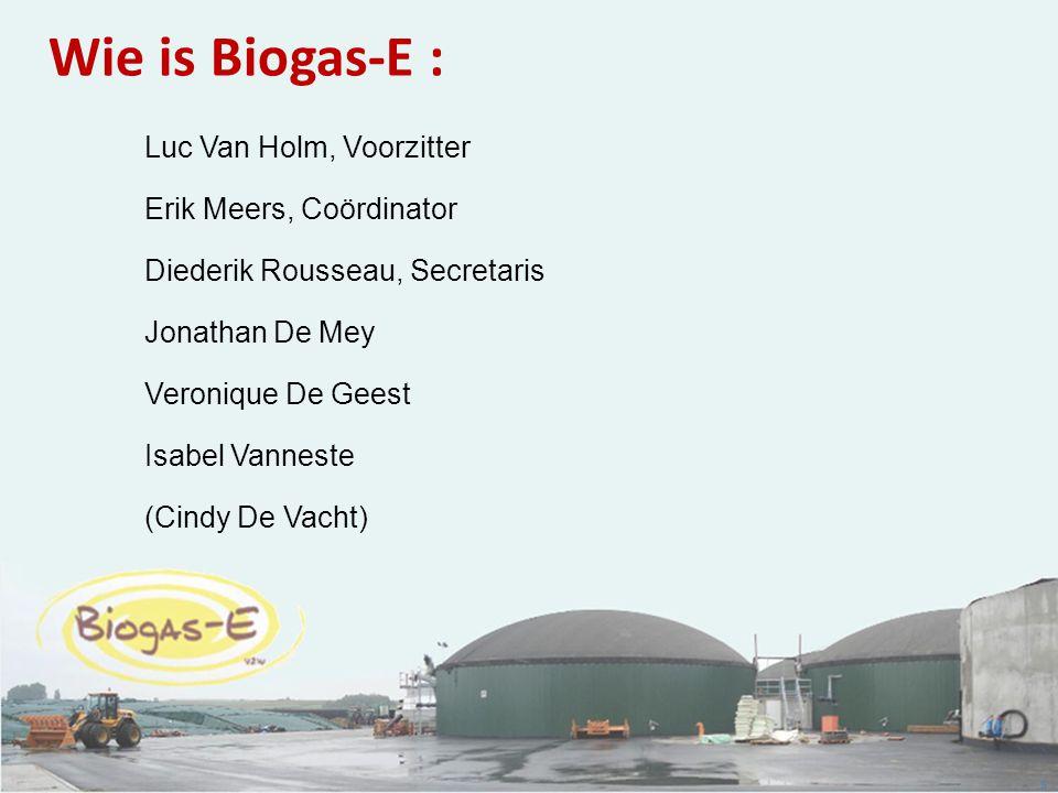 5 Wie is Biogas-E : Luc Van Holm, Voorzitter Erik Meers, Coördinator Diederik Rousseau, Secretaris Jonathan De Mey Veronique De Geest Isabel Vanneste