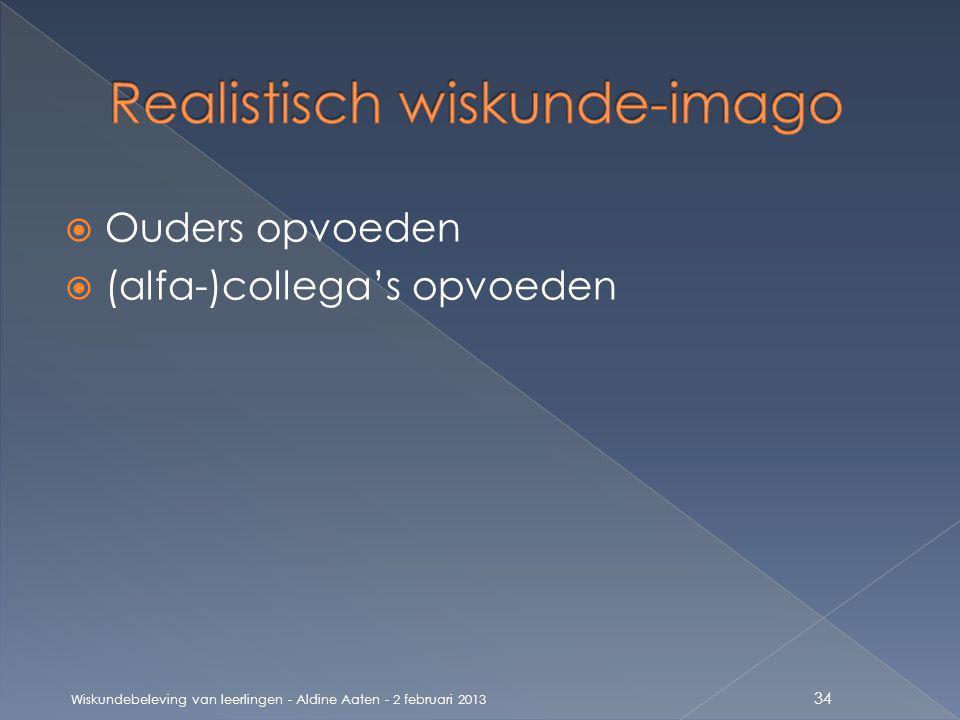  Ouders opvoeden  (alfa-)collega's opvoeden Wiskundebeleving van leerlingen - Aldine Aaten - 2 februari 2013 34
