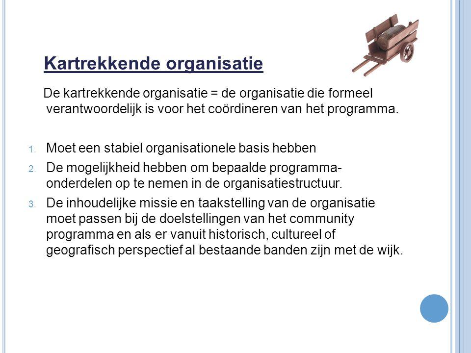 Kartrekkende organisatie De kartrekkende organisatie = de organisatie die formeel verantwoordelijk is voor het coördineren van het programma. 1. Moet