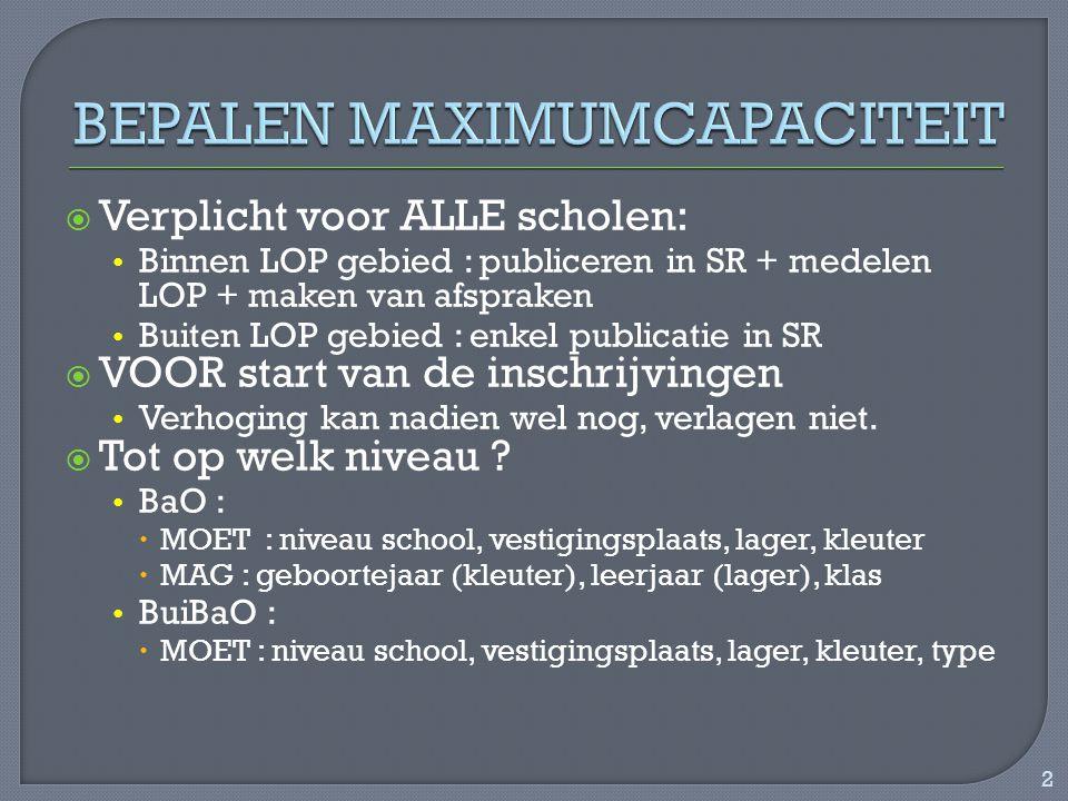  Verplicht voor ALLE scholen: Binnen LOP gebied : publiceren in SR + medelen LOP + maken van afspraken Buiten LOP gebied : enkel publicatie in SR  VOOR start van de inschrijvingen Verhoging kan nadien wel nog, verlagen niet.