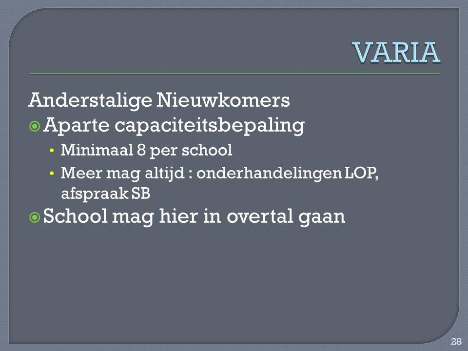 Anderstalige Nieuwkomers  Aparte capaciteitsbepaling Minimaal 8 per school Meer mag altijd : onderhandelingen LOP, afspraak SB  School mag hier in overtal gaan 28