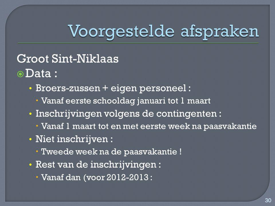 Groot Sint-Niklaas  Data : Broers-zussen + eigen personeel :  Vanaf eerste schooldag januari tot 1 maart Inschrijvingen volgens de contingenten :  Vanaf 1 maart tot en met eerste week na paasvakantie Niet inschrijven :  Tweede week na de paasvakantie .