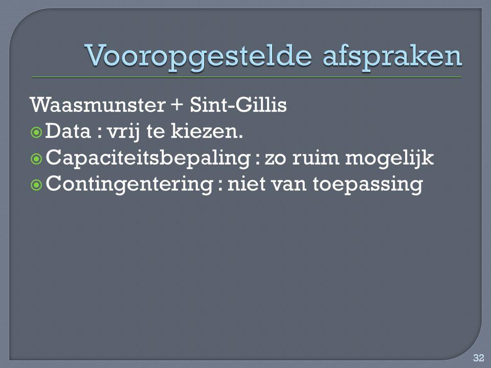 Waasmunster + Sint-Gillis  Data : vrij te kiezen.