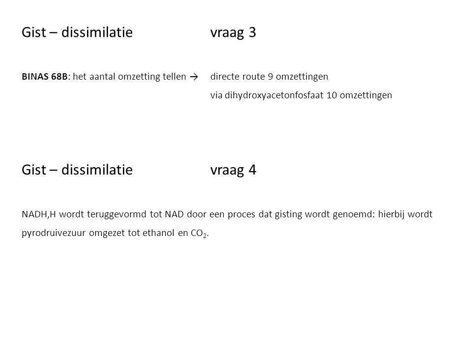 Gist – dissimilatievraag 3 BINAS 68B: het aantal omzetting tellen → directe route 9 omzettingen via dihydroxyacetonfosfaat 10 omzettingen Gist – dissi