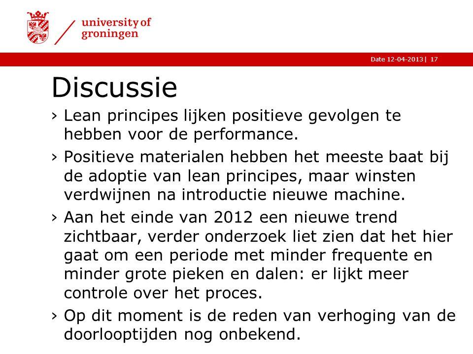 |Date 12-04-2013 Discussie 17 ›Lean principes lijken positieve gevolgen te hebben voor de performance.