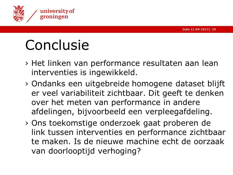 |Date 12-04-2013 Conclusie 18 ›Het linken van performance resultaten aan lean interventies is ingewikkeld.