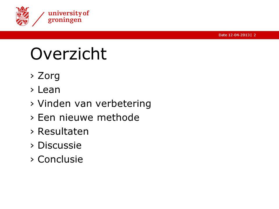 |Date 12-04-2013 Overzicht ›Zorg ›Lean ›Vinden van verbetering ›Een nieuwe methode ›Resultaten ›Discussie ›Conclusie 2