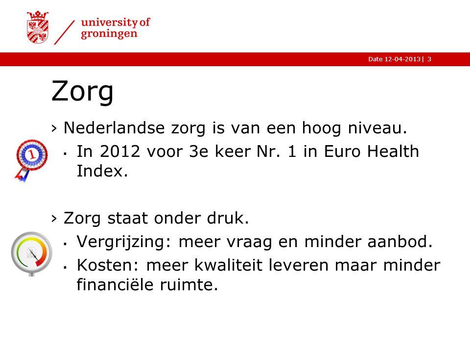 |Date 12-04-2013 Zorg ›Nederlandse zorg is van een hoog niveau.