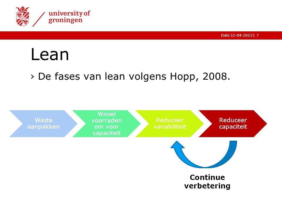 |Date 12-04-2013 Waste aanpakken Wissel voorraden om voor capaciteit Reduceer variabiliteit Reduceer capaciteit Lean ›De fases van lean volgens Hopp, 2008.