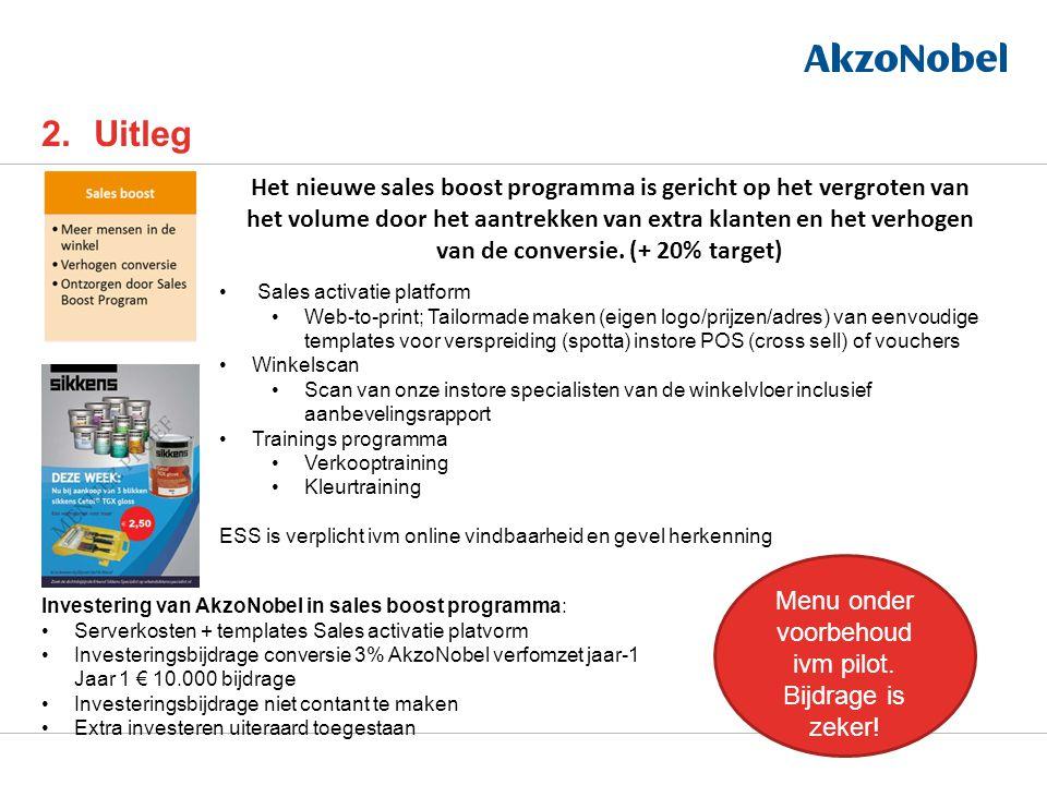 2.Uitleg Het nieuwe sales boost programma is gericht op het vergroten van het volume door het aantrekken van extra klanten en het verhogen van de conversie.